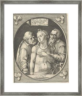 Susanna And The Two Elders, Nicolaes De Bruyn Framed Print