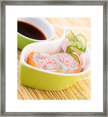 Sushi In Restaurant Framed Print by Anna Om