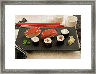 Sushi (nigiri With Salmon And Norimaki Framed Print