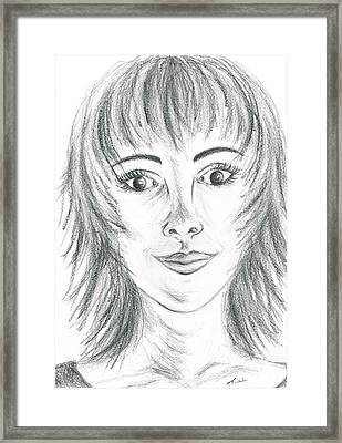 Framed Print featuring the drawing Portrait Stunning by Teresa White