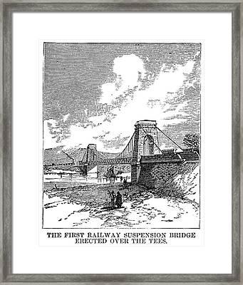 Suspension Bridge, 1830 Framed Print