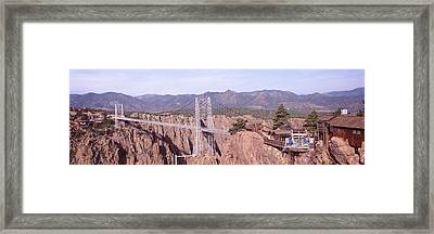 Suspension Bridge Across A Canyon Framed Print
