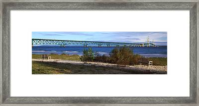 Suspension Bridge Across A Strait Framed Print by Panoramic Images
