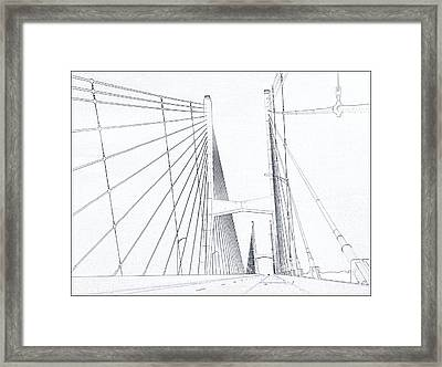 Suspension Bridge Sketch Framed Print by Dan Sproul