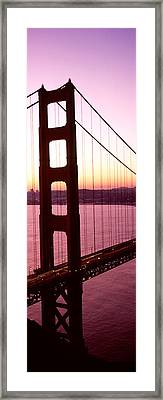 Suspension Bridge At Sunrise, Golden Framed Print by Panoramic Images