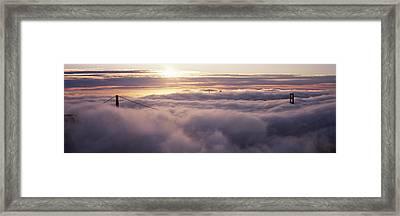 Suspension Bridge Covered With Fog Framed Print