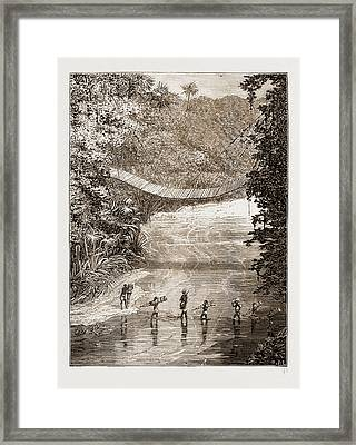 Suspension Bridge Over The Lulindi, Africa Framed Print by Litz Collection