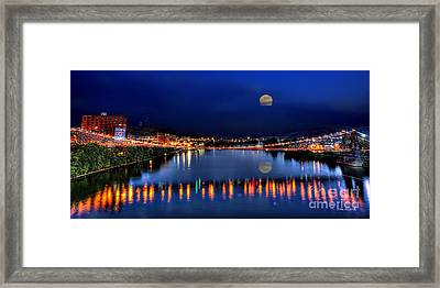 Framed Print featuring the photograph Suspension Bridge Wheeling Wv Panoramic by Dan Friend