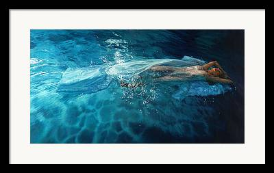 Girl In Water Framed Prints