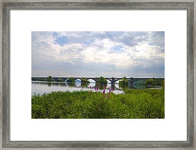 Susquehanna River And The Veterans Memorial Bridge Framed Print by Bill Cannon