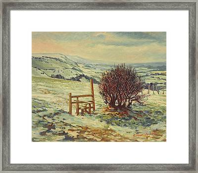 Sussex Stile, Winter, 1996 Framed Print by Robert Tyndall