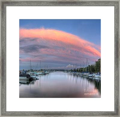 Sutton's Bay Marina At Sunset Framed Print by Twenty Two North Photography