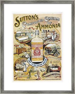 Sutton's Compound Cream Of Ammonia Vintage Ad Framed Print by Gianfranco Weiss