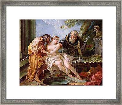 Suzanna And The Elders, 1746 Oil On Canvas Framed Print by Joseph-Marie the Younger Vien