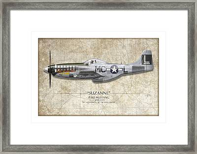 Suzanne P-51d Mustang - Map Background Framed Print by Craig Tinder