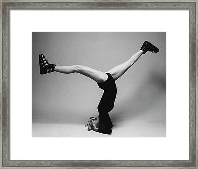 Suzy Chaffee Standing On Her Head Framed Print by Isi Veleris