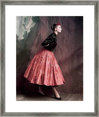 Suzy Parker In A Givenchy Skirt Framed Print by John Rawlings