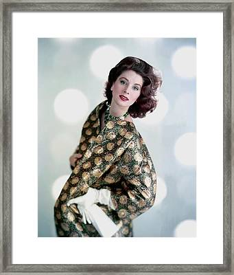 Suzy Parker In A Original Coat Framed Print by Karen Radkai