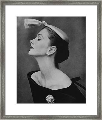 Suzy Parker In An Off-the-shoulder Dress Framed Print by John Rawlings