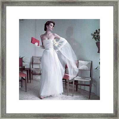 Suzy Parker Wearing A Gown By Christian Dior Framed Print by Frances Mclaughlin-Gill
