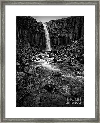 Svartifoss Waterfall In Black And White Framed Print