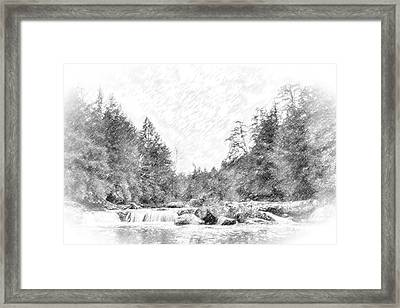 Swallow Falls Waterfall Pencil Sketch Framed Print