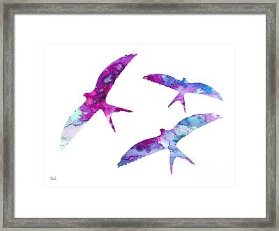 Swallows Framed Print by Watercolor Girl