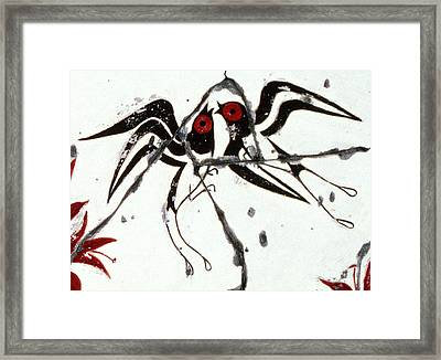 Swallows With Lilies No. 5 - Study No. 2 Framed Print by Steve Bogdanoff
