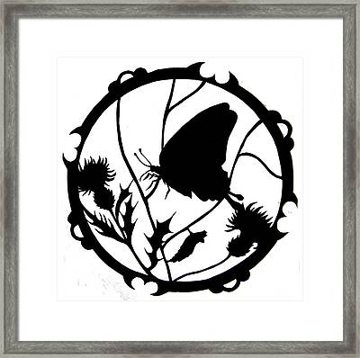 Swallowtail Butterfly Silhouette Framed Print by Dale Jackson