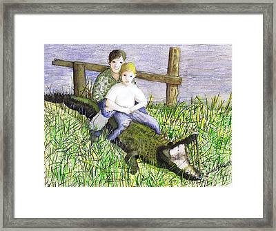 Framed Print featuring the painting Swamp Boys by June Holwell