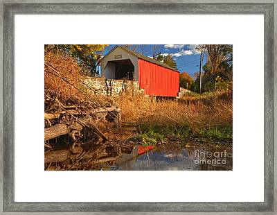 Swamp Creek Covered Bridge Reflections Framed Print by Adam Jewell