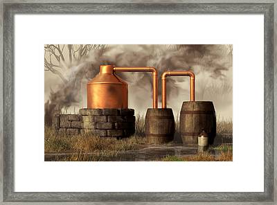 Swamp Moonshine Still Framed Print
