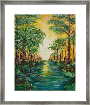 Swamp Sunrise Framed Print by April Moran