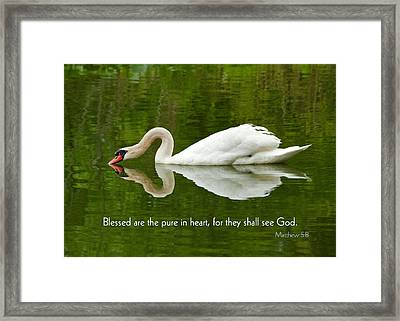 Swan Heart Bible Verse Greeting Card Original Fine Art Photograph Print As A Gift Framed Print
