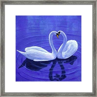 Swan Hearts Framed Print