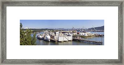 Swan Island Shipyard Panorama Framed Print