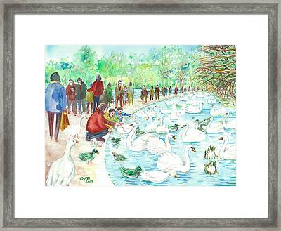 Framed Print featuring the painting Swan Lake by Giovanni Caputo