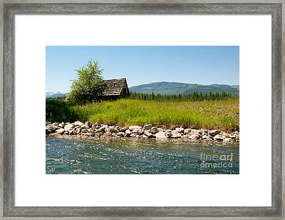 Swan River Cabin Framed Print by Vinnie Oakes