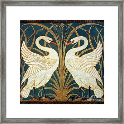 Swan Rush And Iris Framed Print by Walter Crane
