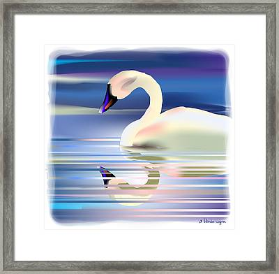 Framed Print featuring the digital art Swan Song by Arline Wagner
