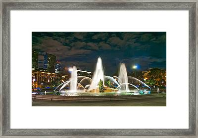 Swann Fountain At Night - Philadelphia Framed Print