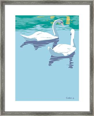 Abstract Swans Bird Lake Pop Art Nouveau Retro 80s 1980s Landscape Stylized Large Painting  Framed Print by Walt Curlee