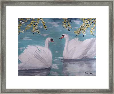 Swans On Pond Framed Print by Kat Poon