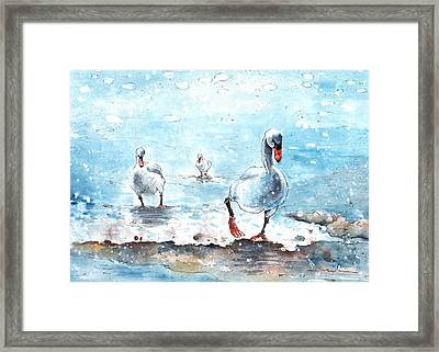 Swans On The March Framed Print by Miki De Goodaboom