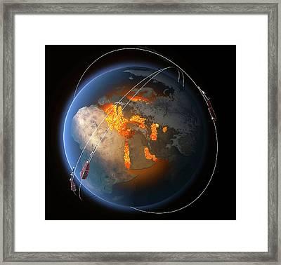 Swarm Satellites Framed Print by Esa/atg Medialab