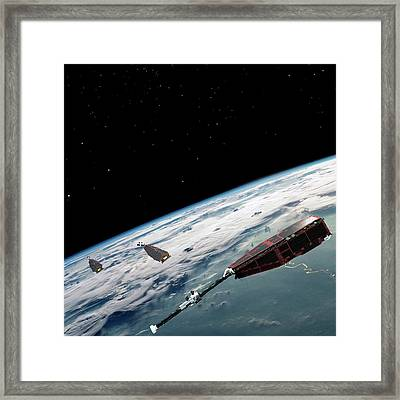 Swarm Satellites Framed Print by European Space Agency/aoes Medialab