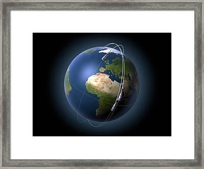 Swarm Satellites In Orbit Framed Print by P.carril/esa