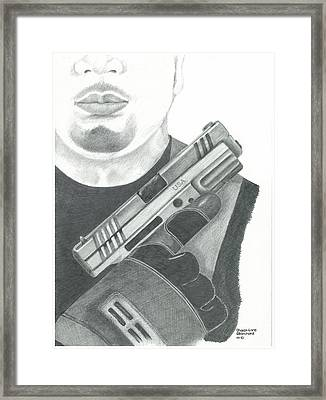 S.w.a.t. Team Leader Holding A Springfield Armory Xd 40 Cal Weapon Framed Print by Sharon Blanchard