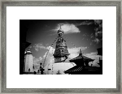 Swayambhunath Temple Black And White Framed Print by Raimond Klavins