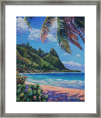 Swaying Palm On Makua Beach Framed Print by John Clark